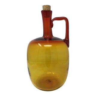 1960s Blenko Tangerine Amberina Decanter Jug by Joel Myers For Sale