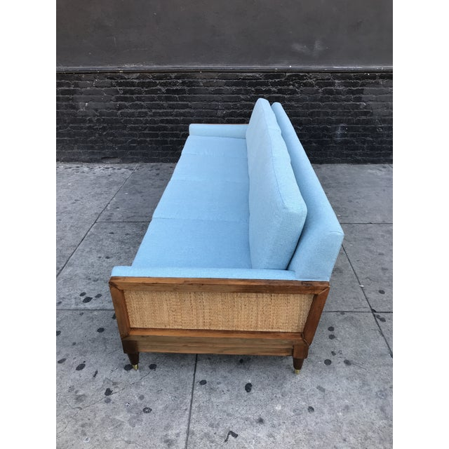 Caning Vintage Mid Century Long Sofa For Sale - Image 7 of 13