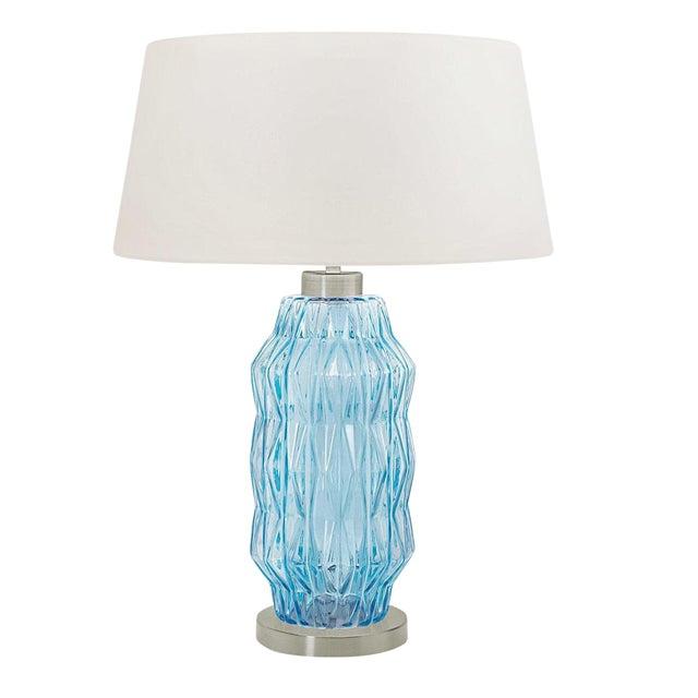 Laguna Column Table Lamp in Aqua Colour For Sale