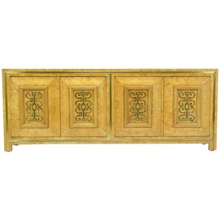 Mastercraft Light Amboyna Burl Long Cabinet With Patinated Brass Detail For Sale