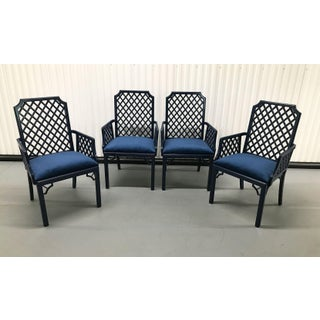 1960s Chinoiserie Lattice-Back Velvet Upholstered Armchairs — Set of 4 Preview