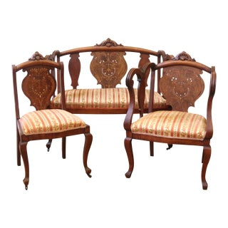 Late 19th Century Antique Inlaid Mother of Pearl Empire Style 3 Piece Parlor Set For Sale