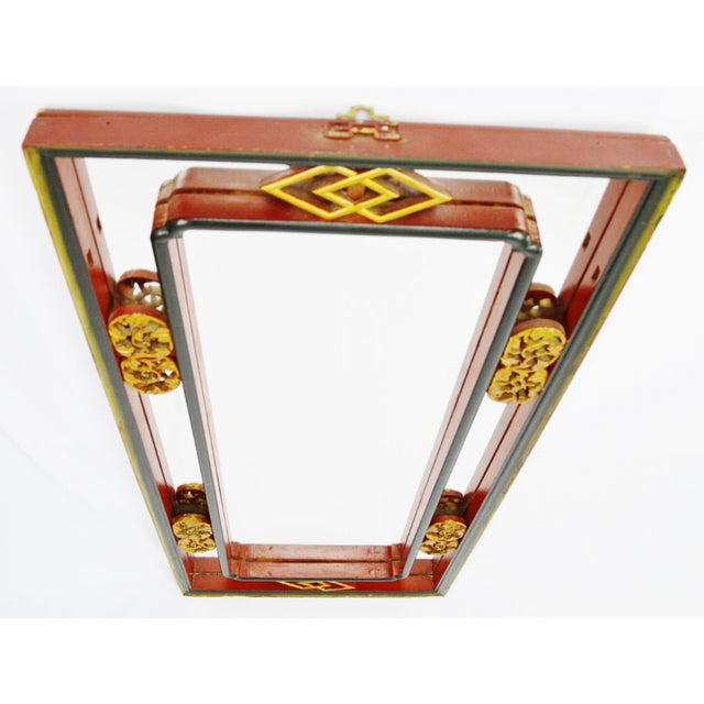 Vintage Chinese Red & Gold Accented Mirror - Image 5 of 10