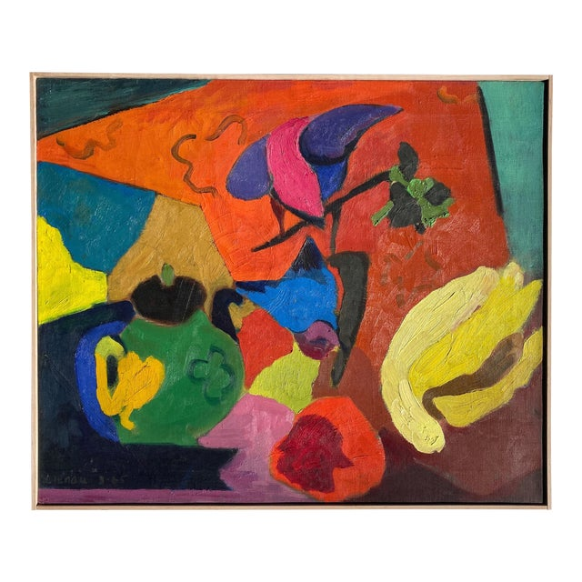 Matisse Style Mid-Century Expressionist Oil on Canvas Painting For Sale