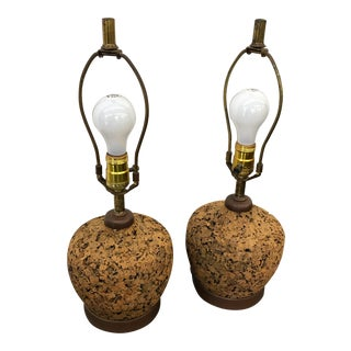 Mid-Century Cork Lamps - A Pair
