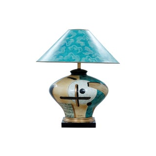 Mid Century Art Deco Ceramic Table Lamp With Matching Shade For Sale