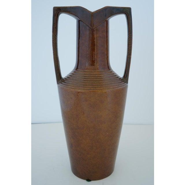 1920s Vintage Art Deco 1920s Egyptian Revival Handled Jug Urn Vase Glazed Ceramic For Sale - Image 5 of 9