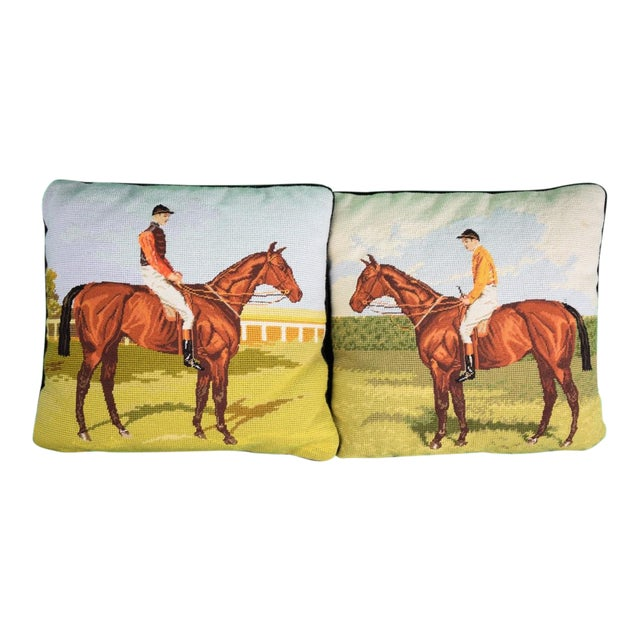 Petit-Point English Jockey Needlepoint Pillows - A Pair For Sale