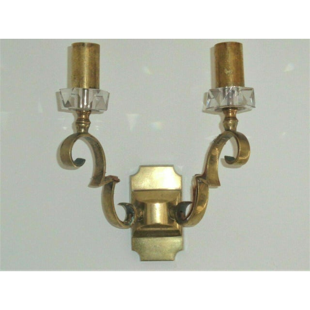 Jules Leleu 1930's French Art Deco Jules Leleu Gilt Bronze W/ Baccarat Crystal Documented Wall Sconces - a Pair For Sale - Image 4 of 13