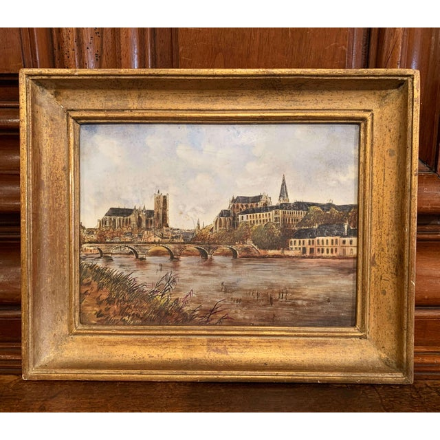 Wood 19th Century French Hand Painted Porcelain Plaque of the City of Auxerre For Sale - Image 7 of 7