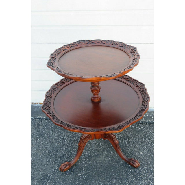Traditional Mahogany Two Tier Hand Carved Pie Crust Round Side Table For Sale - Image 3 of 11