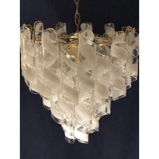 "Vintage Mazzega Brass and White Spiral Murano Glass Four Tiered ""Torciglione"" Chandelier Preview"