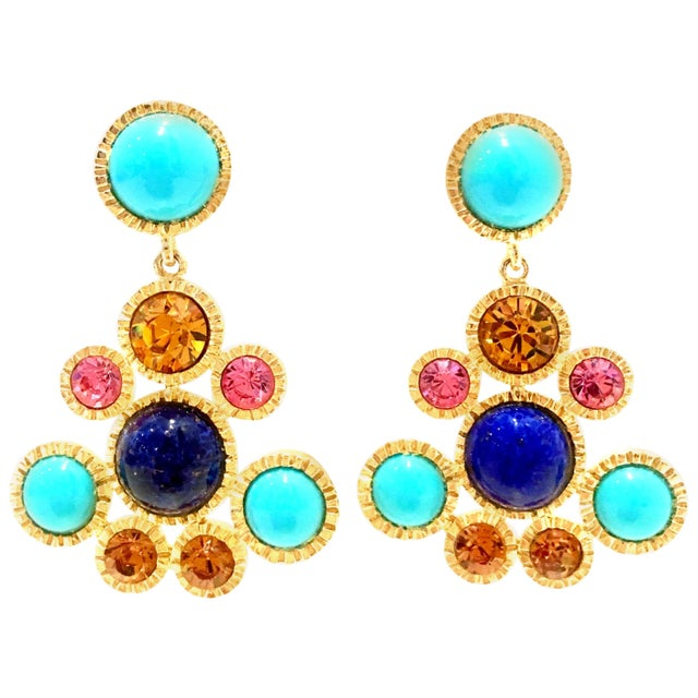 20th Century Kenneth Jay Lane Gold Chandelier Earrings - a Pair For Sale - Image 12 of 12