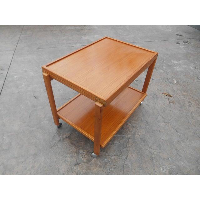 Danish Modern 1960s Danish Modern Flip Top Teak Serving Cart / Table For Sale - Image 3 of 7
