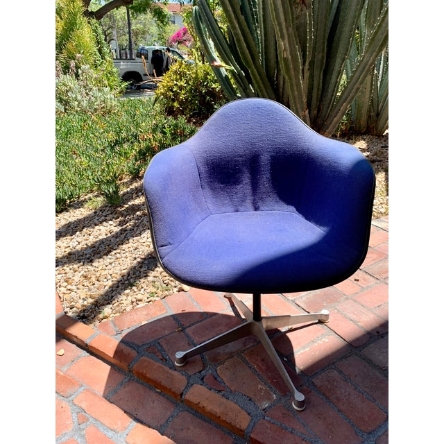 Vintage Eames for Herman Miller upholstered fiberglass shell chair by Summit. Likely created in the 1970s based on the...