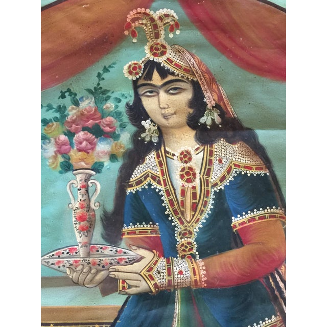 Antique Early 20th Century Persian Qajar Tea House Oil Painting on Canvas For Sale In Los Angeles - Image 6 of 12