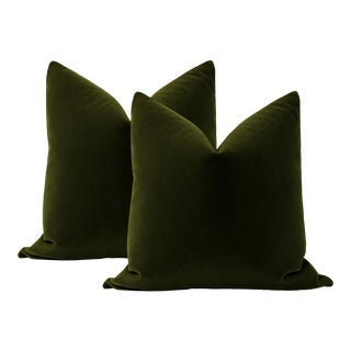 "22"" Olive Mohair Velvet Pillows - a Pair For Sale"