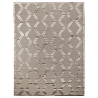 Vera Hand-Knotted Wool/Viscose Beige Rug - 10'x14' For Sale