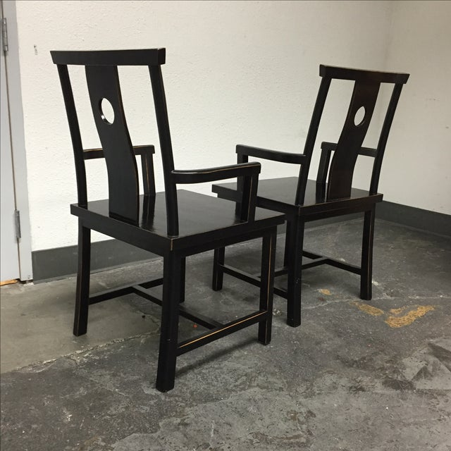 Black Solid Wood Lacquered Chairs - A Pair - Image 7 of 10