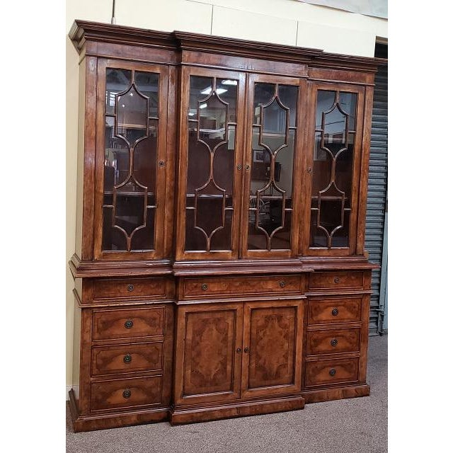 20th Century English Traditional Glazed Walnut Breakfront Cabinet For Sale In San Francisco - Image 6 of 13