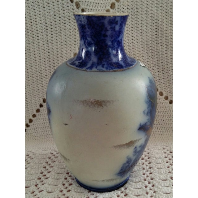 English Flow Blue and Sponged Gold Vase - Image 3 of 6