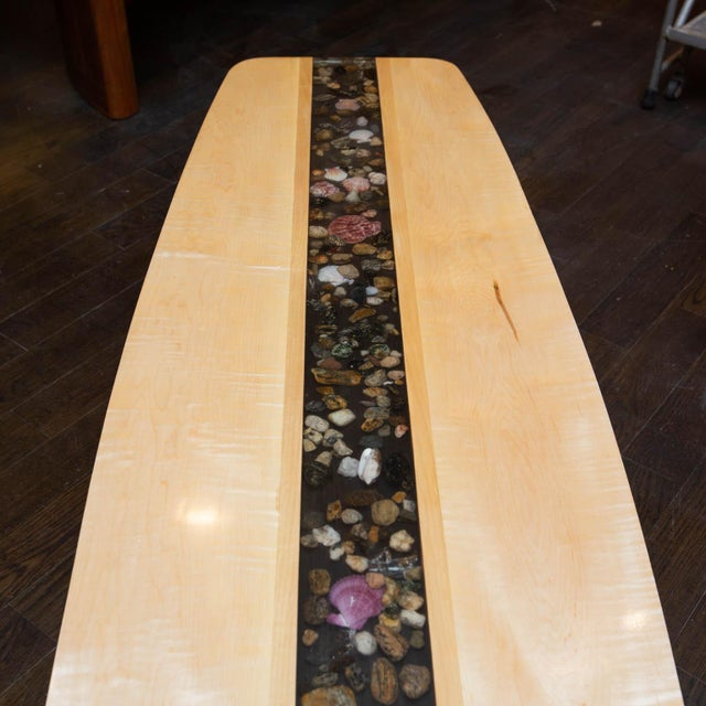 Modern Custom Made Surfboard Coffee Table For Sale - Image 3 of 11