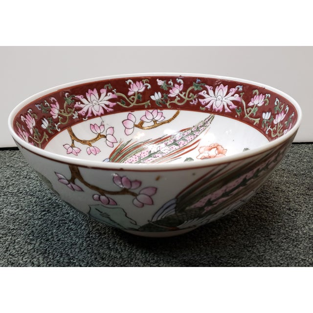 """Up for sale is a Mid 20th Century Chinese Famille Verte Porcelain Peacock/Floral Motifs Bowl! It measures 4"""" tall and 9..."""