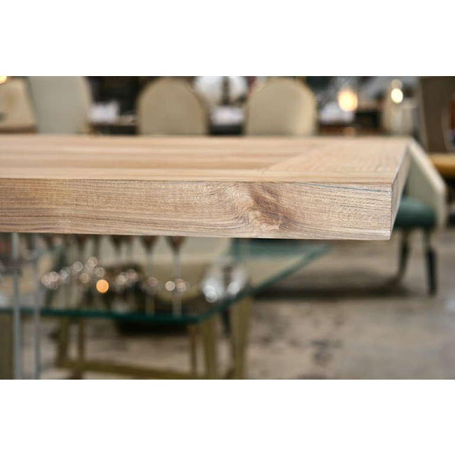 """Brown """"Spirit"""" Burma Teak Table with Plexi Base For Sale - Image 8 of 9"""