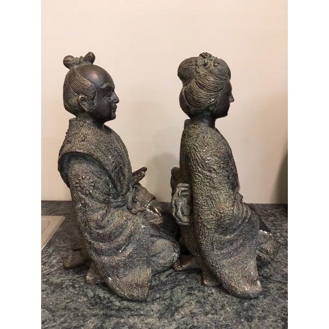Pair Japanese Bronze Figures For Sale - Image 4 of 7