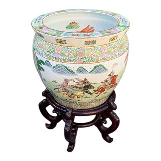 Large Chinoiserie Fishbowl Planter and Stand. For Sale