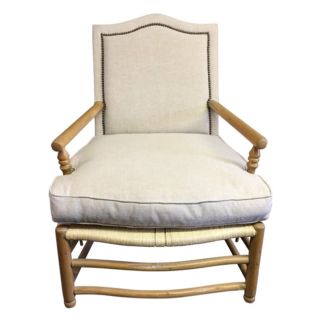 Linen Upholstered Oak and Woven Chair - Image 1 of 7