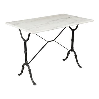 20th Century French Cast Iron Marble-Top Bistro Table For Sale