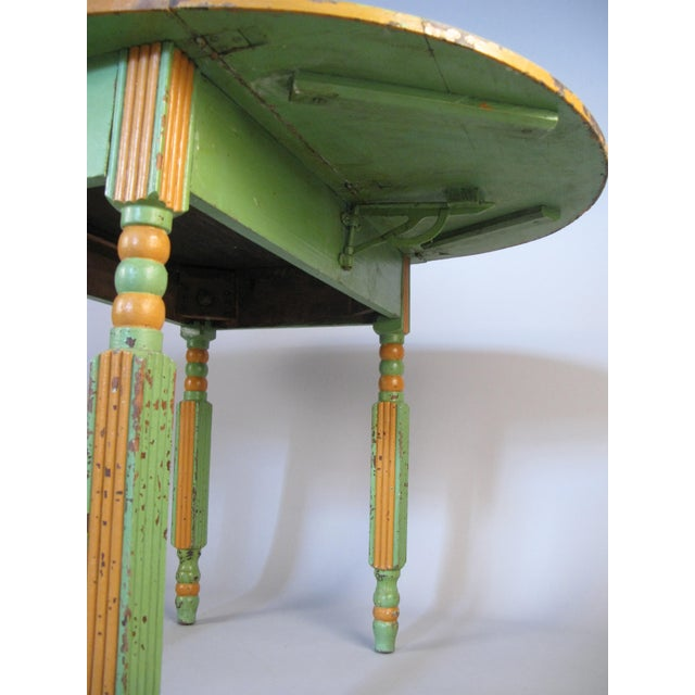 1920s Antique 1920s Hand Painted Drop-Leaf Dining Table For Sale - Image 5 of 8