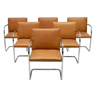 Late 20th Century Mies Van Der Rohe Brno Chairs by Knoll- Set of 6 For Sale