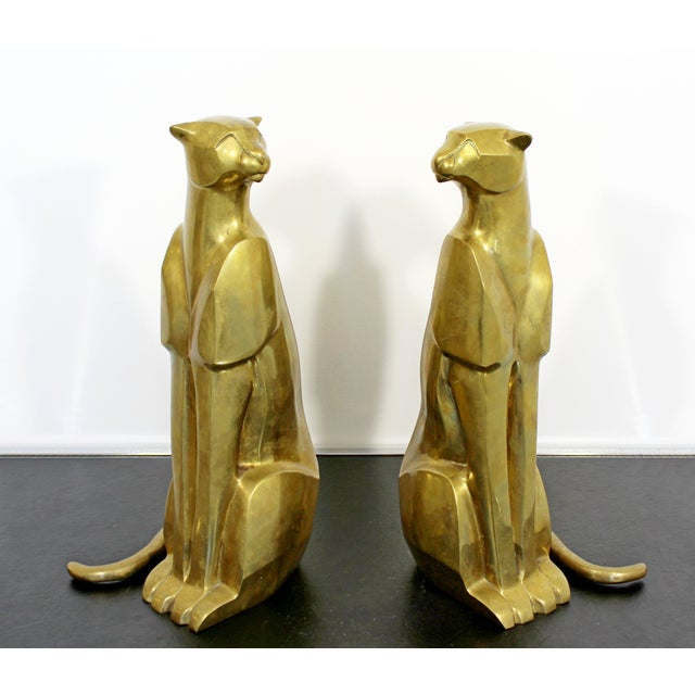 Mid Century Modern Pair of Bronze Brass Cheetah Cat Table Sculptures For Sale - Image 12 of 12