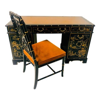 Chinoiserie Desk & Faux Bamboo Chair by Drexel For Sale