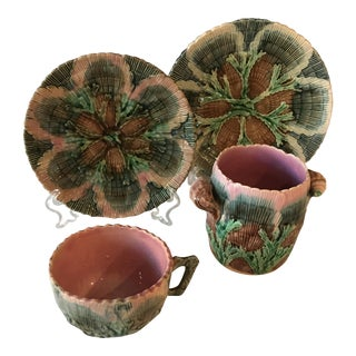 Etruscan Antique Majolica Shell & Seaweed Set - Set of 4 For Sale