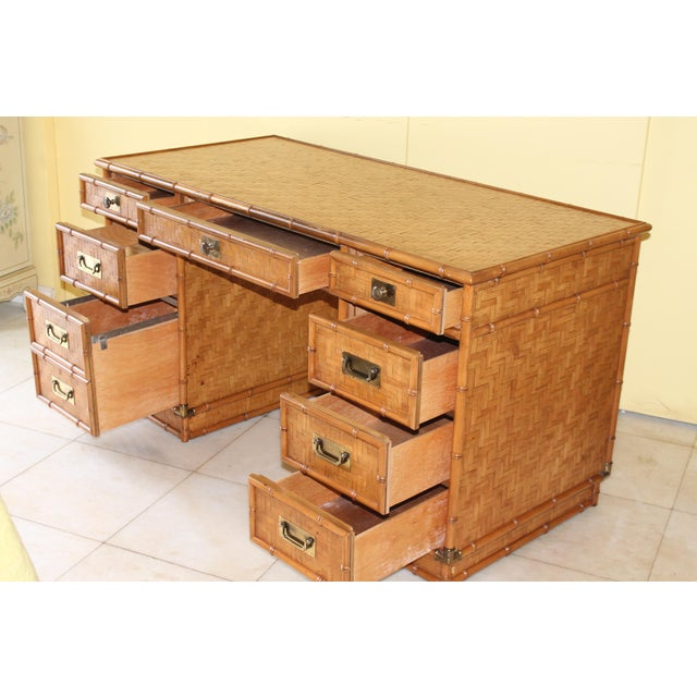 1960s Vintage Bamboo Campaign Style Writing Desk For Sale In Miami - Image 6 of 13