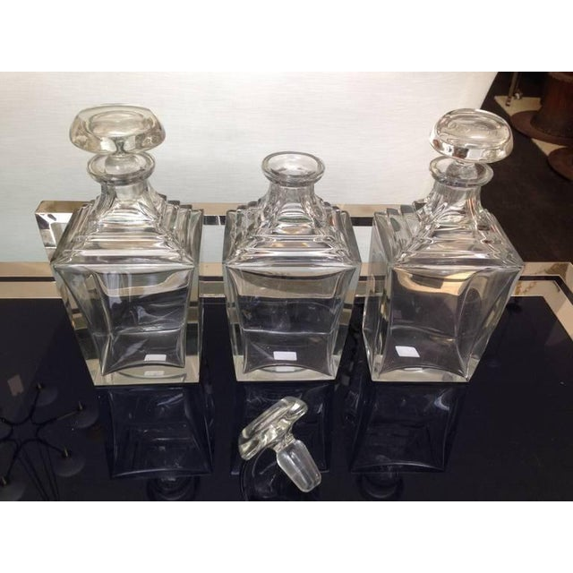 Wonderful set of three crystal decanters from the Art Deco period. Wonderful condition for their age.