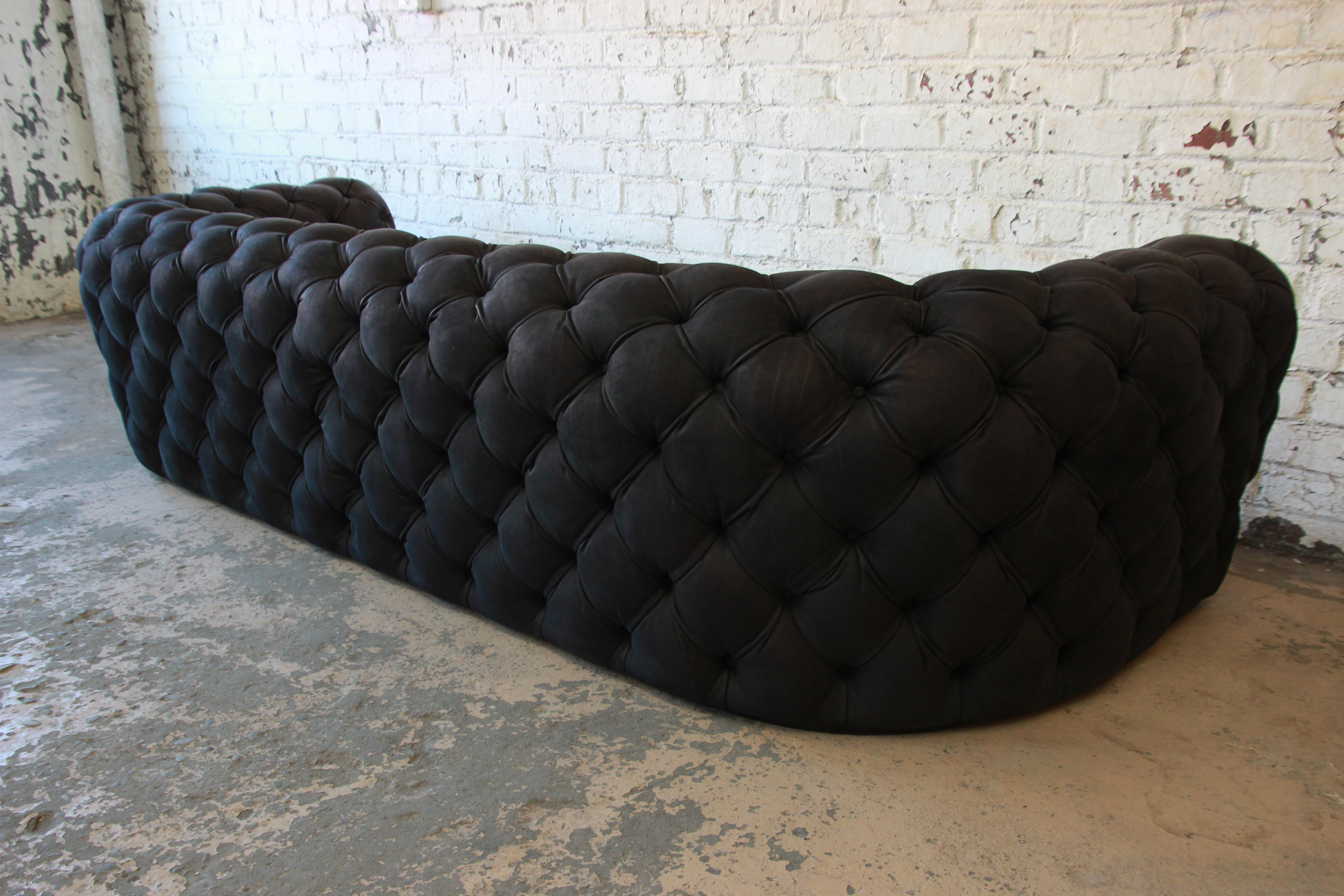 Italian Tufted Black Leather Chester Moon Sofa By Paola Navone For Baxter    Image 7 Of
