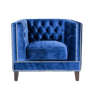 Modern Pasargad Victoria Collecion Tufted Navy Velvet Armchair For Sale