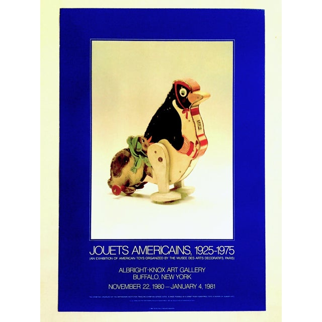 """"""" Jouets Americains 1925 - 1975 """" Rare 1980 Lithograph Print Vintage Toys Museum Exhibition Poster For Sale - Image 9 of 11"""