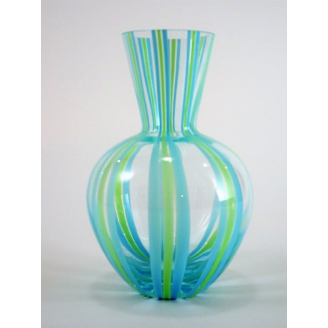 Hand Blown Green and Blue Glass Vase For Sale - Image 13 of 13