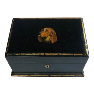 Victorian Black-Lacquered Letter Box With Hand-Painted Basset Hound For Sale
