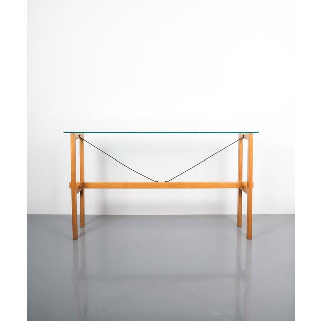 Superstudio Console Table Wood and Glass Zanotta, Italy, Circa 1980 For Sale - Image 9 of 9