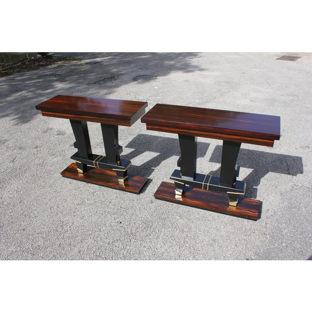 Classic Pair of French Art Deco Exotic Macassar Ebony Console Tables, Circa 1940s For Sale - Image 13 of 13