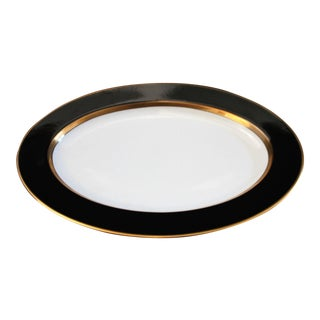 1980s Renaissance Black on White Oval Serving Platter by Fitz & Floyd For Sale