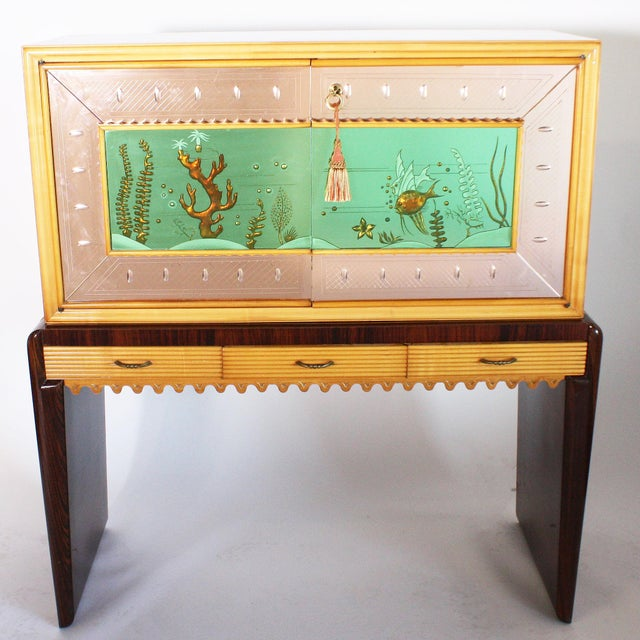 Italian Eglomise Dry Bar, C. 1930 For Sale In Dallas - Image 6 of 6