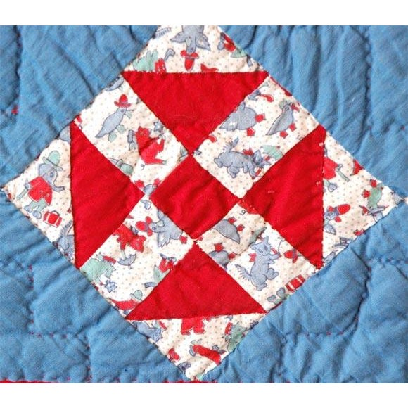1930s Red, White and Blue Doll Quilt For Sale - Image 4 of 9