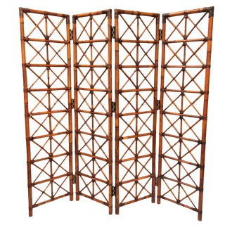 Bamboo Rattan Folding Room Divider